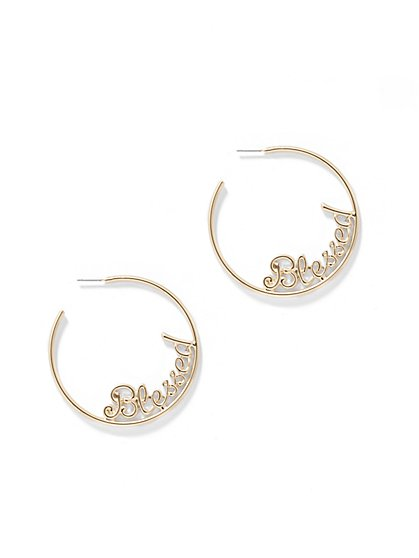 "Goldtone ""Blessed"" Hoop Earring - New York & Company"
