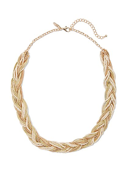 Goldtone Braided Necklace - New York & Company