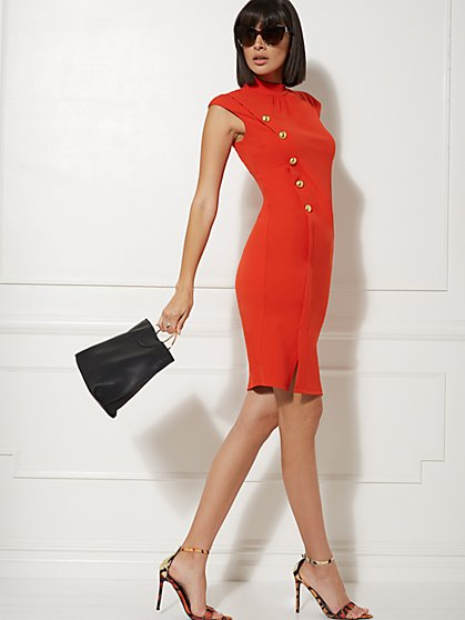 Goldtone Button-Accent Sheath Dress - Magic Crepe - 7th Avenue - New York & Company