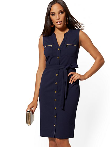 d9a7be782 Goldtone Button-Accent Sheath Dress - Magic Crepe - New York & Company ...