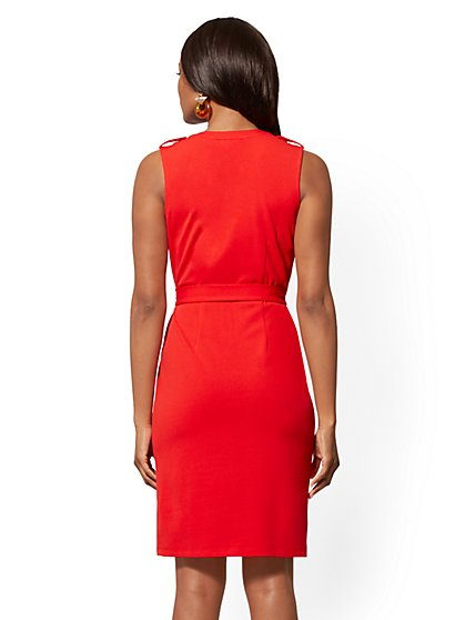 10cf86b7 ... Goldtone Button-Accent Sheath Dress - Magic Crepe - New York & Company