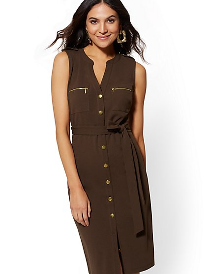 Goldtone Button-Accent Sheath Dress - Magic Crepe - New York & Company