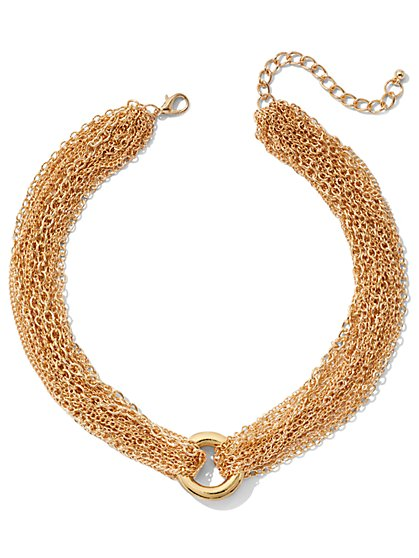 Goldtone Chain-Link Collar Necklace - New York & Company