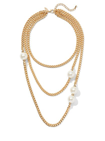 Goldtone Chain-Link Faux-Pearl Necklace - New York & Company