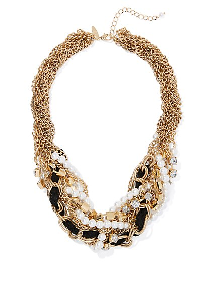 Goldtone Chain-Link & Faux Pearl Torsade Necklace - New York & Company