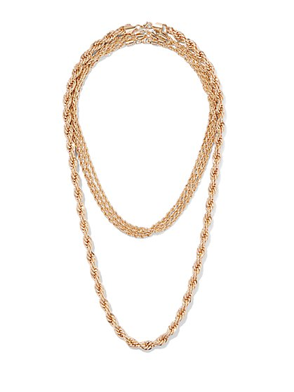 Goldtone Chain-Link Layered Necklace - New York & Company