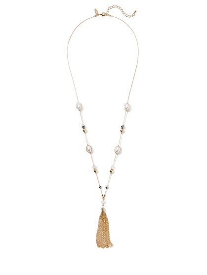 Goldtone Chain-Link Tassel Necklace - New York & Company