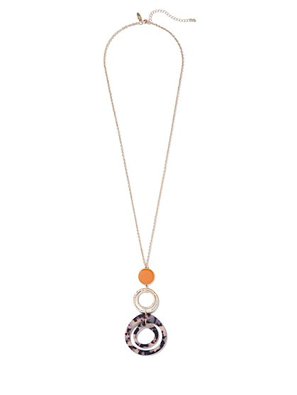 Goldtone Circle Pendant Necklace - New York & Company