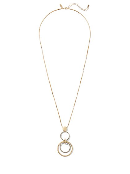 Goldtone Circular Pendant Necklace - New York & Company
