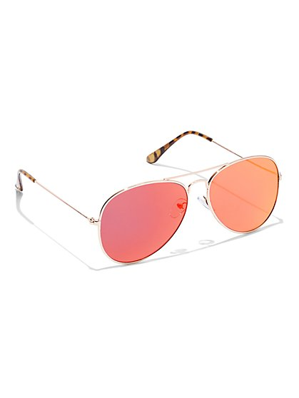 Goldtone Color Lens Aviator Sunglasses - New York & Company