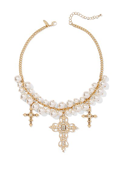 Goldtone Cross Station Necklace - New York & Company