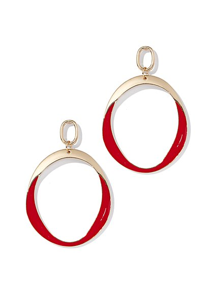 Goldtone Enamel Hoop Drop Earring - New York & Company