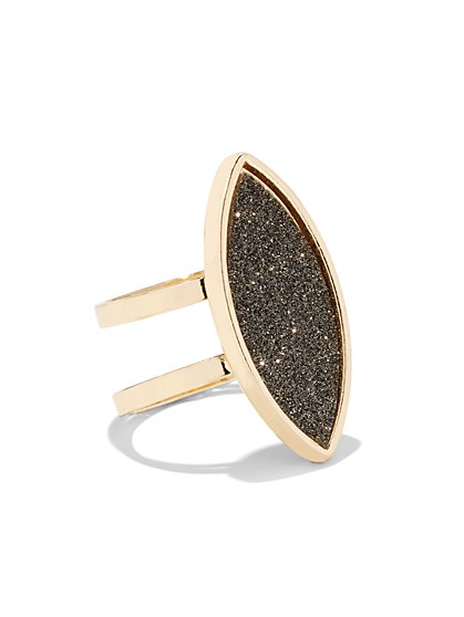 Goldtone Faux-Druzy Cocktail Ring - New York & Company