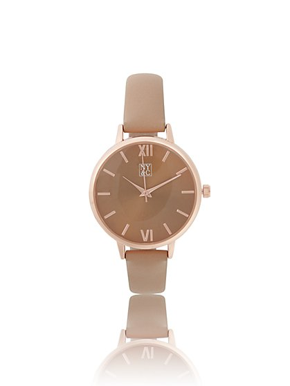 Goldtone Faux-Leather Strap Watch - New York & Company