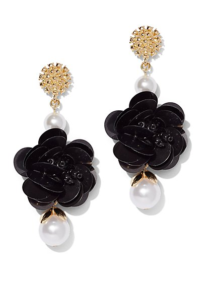 Goldtone & Faux-Pearl Floral Drop Earring - New York & Company