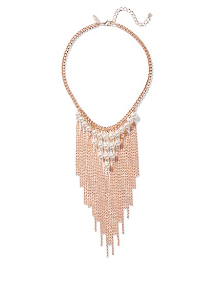 Goldtone Faux-Pearl Fringe Statement Necklace - New York & Company