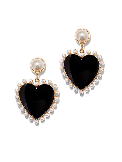 Goldtone & Faux-Pearl Heart Drop Earring - New York & Company