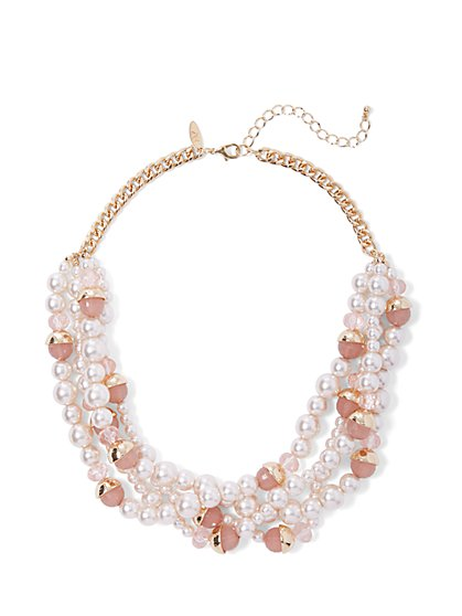 Goldtone Faux-Pearl Layered Necklace - New York & Company