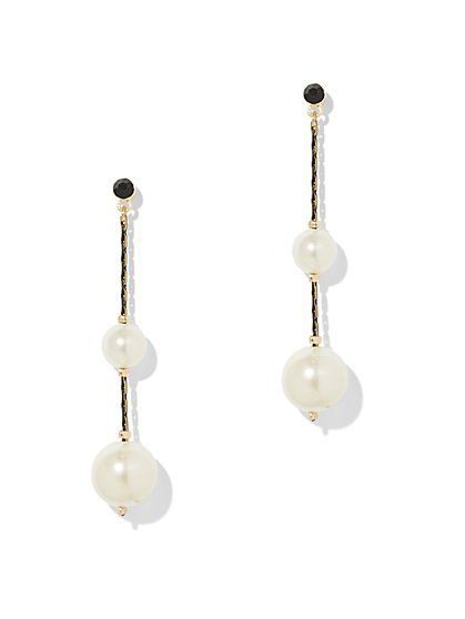 Goldtone Faux-Pearl Linear Drop Earring - New York & Company
