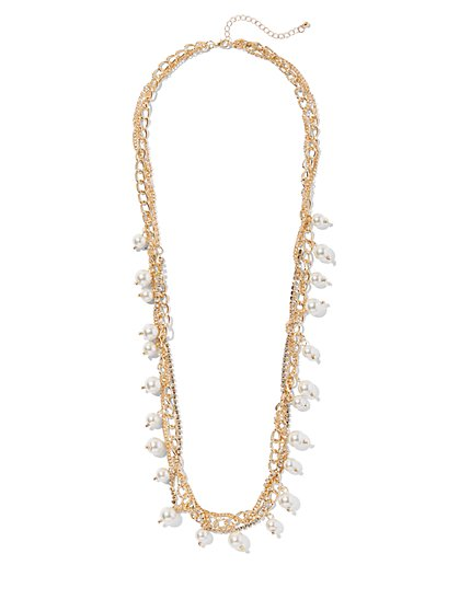 Goldtone Faux-Pearl Necklace - New York & Company