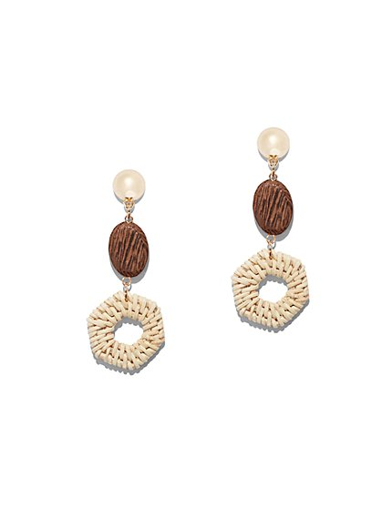Goldtone Faux-Pearl & Raffia Drop Earring - New York & Company