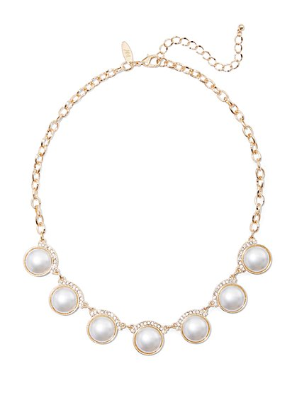 Goldtone Faux-Pearl Statement Necklace - New York & Company