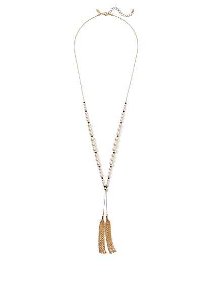 Goldtone Faux-Pearl Tassel Pendant Necklace - New York & Company