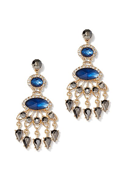 Goldtone Faux-Sapphire Chandelier Drop Earring - New York & Company