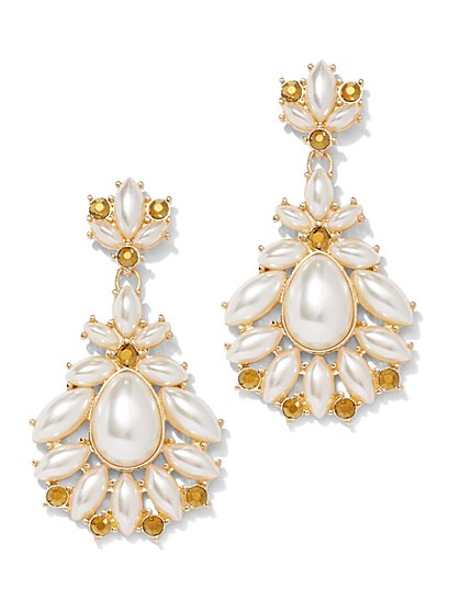 Goldtone Faux-Stone Drop Earring - New York & Company