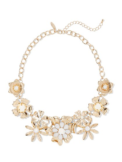 Goldtone Faux-Stone Floral Statement Necklace - New York & Company