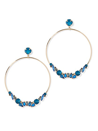 Goldtone Faux-Stone Hoop Drop Earring - New York & Company