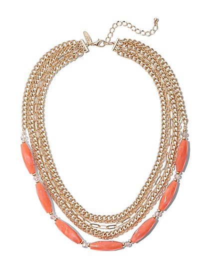 Goldtone Faux-Stone Layered Necklace - New York & Company
