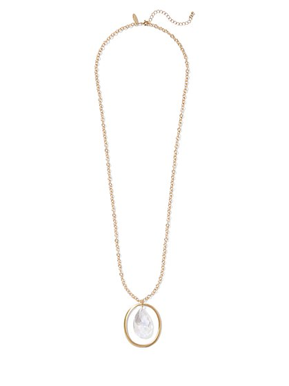 Goldtone Faux-Stone Pendant Necklace - New York & Company