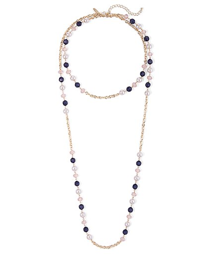 Goldtone Faux-Stone Station Necklace - New York & Company