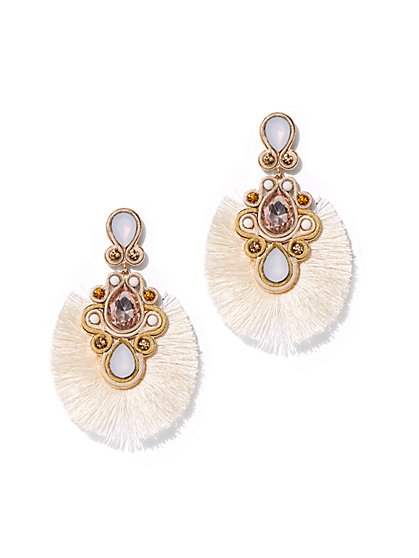 Goldtone Faux-Stone Tassel Drop Earring - New York & Company