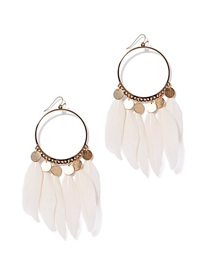 Goldtone Feather & Disk Hoop Drop Earring - New York & Company