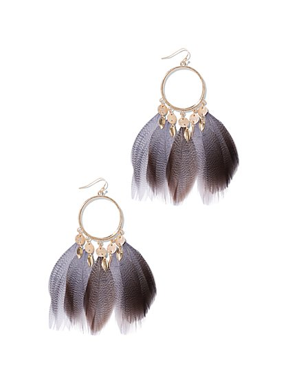 Goldtone Feather Hoop Drop Earring - New York & Company