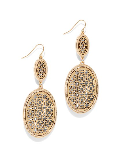 Goldtone Filigree Oval & Circle Drop Earring - New York & Company