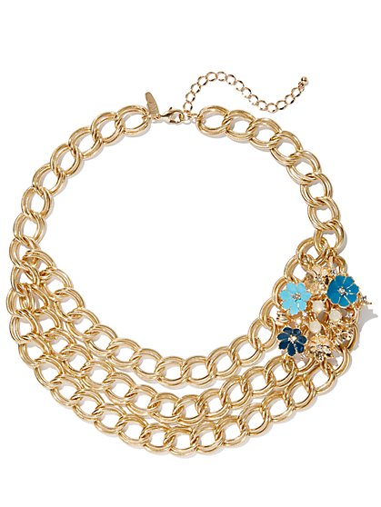 Goldtone Floral-Accent Link Statement Necklace - New York & Company