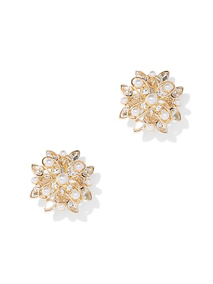 Goldtone Floral Cluster Post Earring - New York & Company