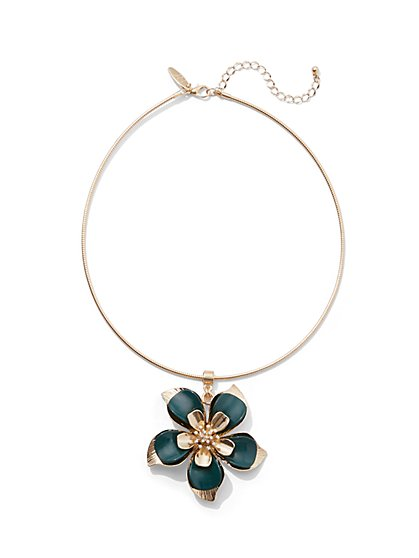 Goldtone Floral Collar/Pendant Necklace - New York & Company