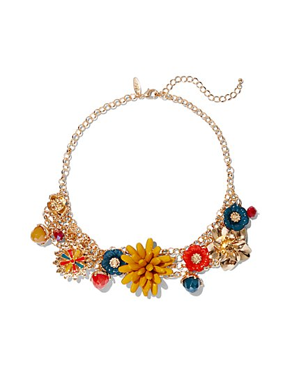 Goldtone Floral Collar Statement Necklace - New York & Company