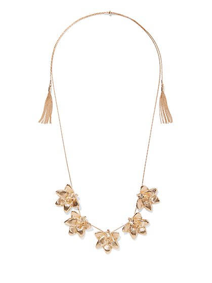 Goldtone Floral Necklace - New York & Company