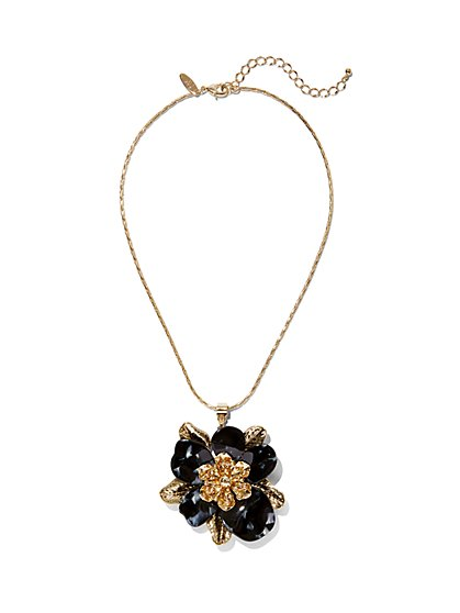 Goldtone Flower Pendant Necklace - New York & Company