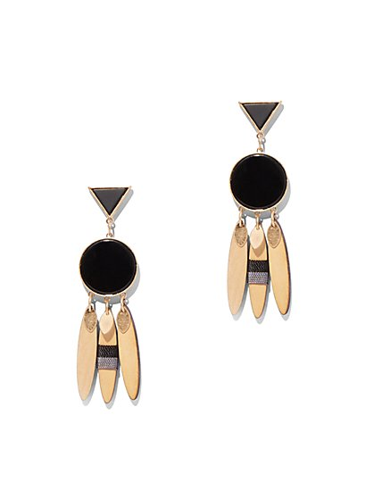 Goldtone Geo Double-Drop Earring - New York & Company