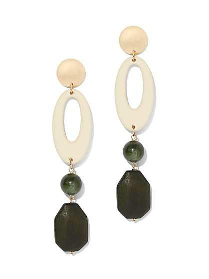 Goldtone Geo Drop Earring - New York & Company