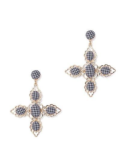 Goldtone Gingham Drop Earring - New York & Company
