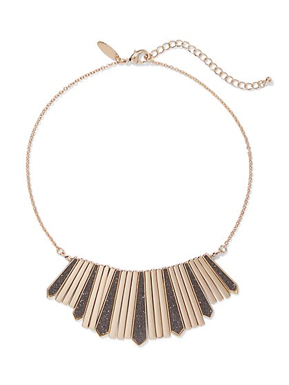 Goldtone Glitter-Finish Statement Necklace - New York & Company