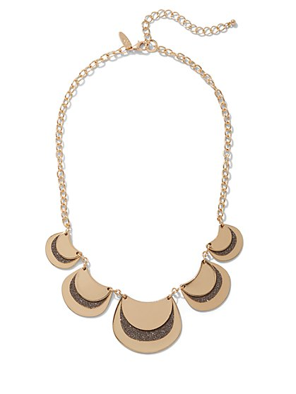 Goldtone Glitter Statement Necklace - New York & Company