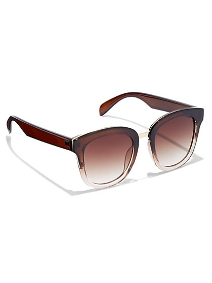 Goldtone Hardware-Accent Square Sunglasses - New York & Company